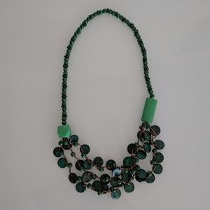 Green Beaded Geometric Necklace